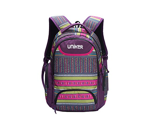 (Uniker Backpacks Bookbags Knapsack School Bags for Girls Women 18 Inch Purple)