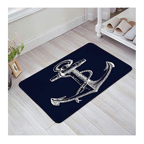 """KAROLA Nautical Anchor Navy Blue Door Mats Indoor Bathroom Kitchen Decor Rug Welcome Doormat - 32""""(L) x 20""""(W)"""
