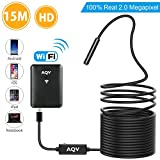 WiFi Endoscope, AQV Wireless Borescope Inspection Camera 2.0 Megapixels HD waterproof Snake Camera with 6 Adjustable LED Light for Android/IOS Smartphone,iPhone,Samsung Galaxy,Tablet,PC - 49.5 ft(15 M/Soft)