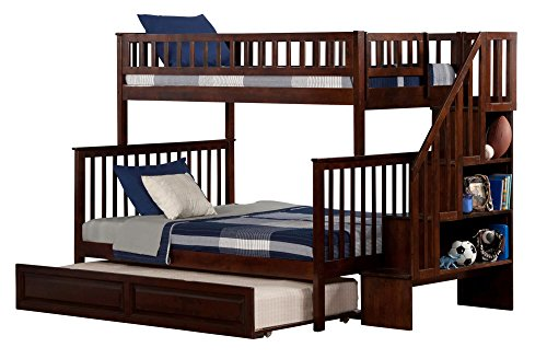 Atlantic Furniture AB56734 Woodland Staircase Bunk Bed with Raised Panel Trundle Bed, Twin/Full, Walnut