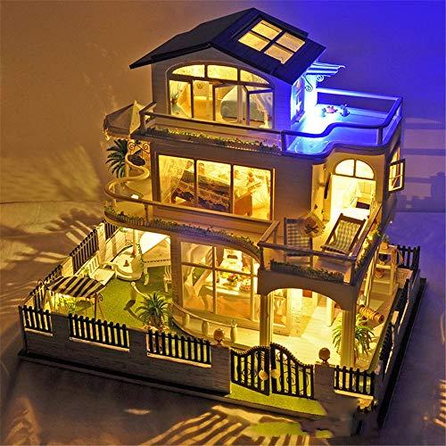 Diy House Impression Vancouver Manual de ensamblaje Modelo Villa Miniatura 3D Kits de artesanía de invernadero para adultos...