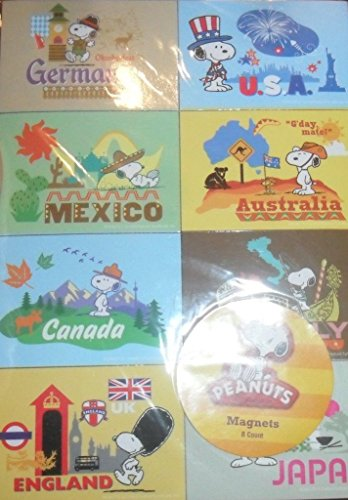 Peanuts Snoopy Set of 8 Magnets - USA, Germany, Mexico, Australia, Canada, Italy, England, Japan'. (Magnets Different)