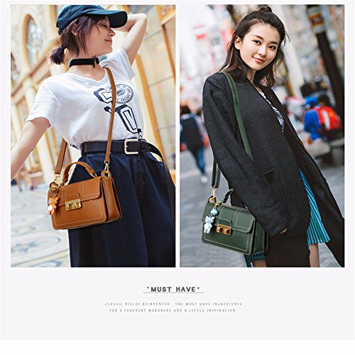 Cross PU Mujer Capacity Claret Bolsillos Vintage Green para Large Leather Casual Hombro Clutch Blackish Wristlet Pequeño Muchos Bags Shoulder con Hombro Body Soft Z8qB4wH