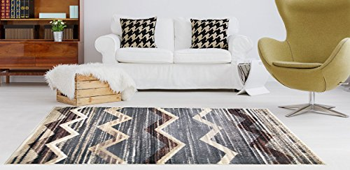 Adgo Atlantic Collection Modern Abstract Geometric Chevron Soft Pile Contemporary Carpet Thick Plush Stain Fade Resistant Easy Clean Bedroom Living Room Floor Rug, Brown Grey, 5' x - Brown Grey