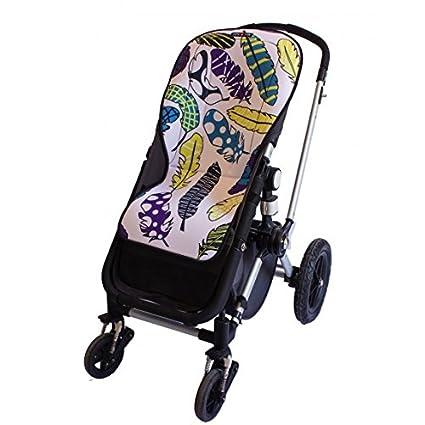 Tris&Ton colchoneta silla de paseo ligera maxi para carrito cochecito bebe transpirable de microfibra modelo Plumas + protección de arneses (Trisyton)