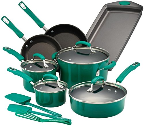 Rachael Ray Porcelain Enamel Cookware - Rachael Ray Hard Porcelain Enamel Nonstick Cookware Set, 14-Piece, Fennel Gradient