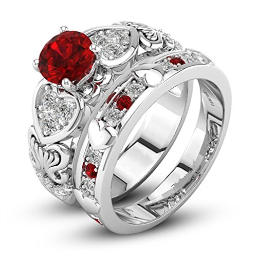 Ring Happy Diamonds Heart (Litetao Diamonds Ring, Zircon Ring With Heart Shaped Red Ring for Womens Girls Valentine's Day Gift, Promise Eternity Ring Engagement Wedding Anniversary Band Her (Red - 10))