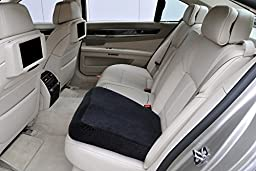 Memory Foam Seat Cushion - Luxury Large Office Chair Pad with a Buckle to Prevent Sliding by Aeris- Car Seat Cushion with Machine Washable Black Plush Velour Cover.