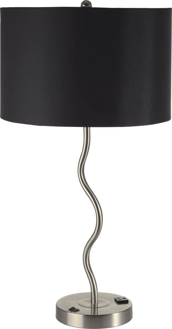 28 5 H 2 Pack Elegant Wavy Brush Steel Table Lamp With Black Linen Shade 6224t Bk 1 Amazon Com