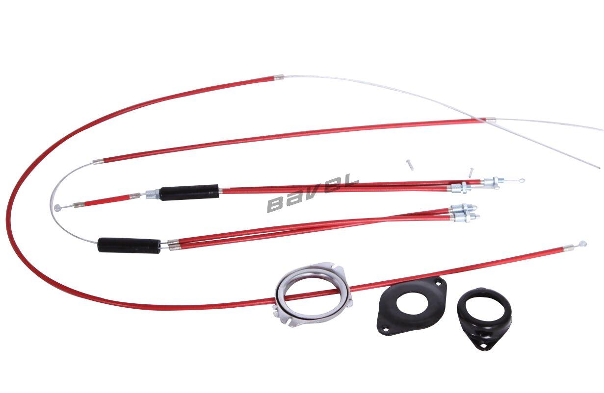 BMX Bike Gyro Brake Cables Front + Rear (Upper + Lower) Spinner Rotor Set Kit (RED)