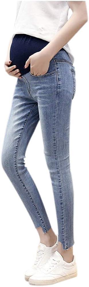 Haodasi Damen Casual Umstandshose Leggings Jeans Schwangerschafts Hose mit Bauchband Slim Fit