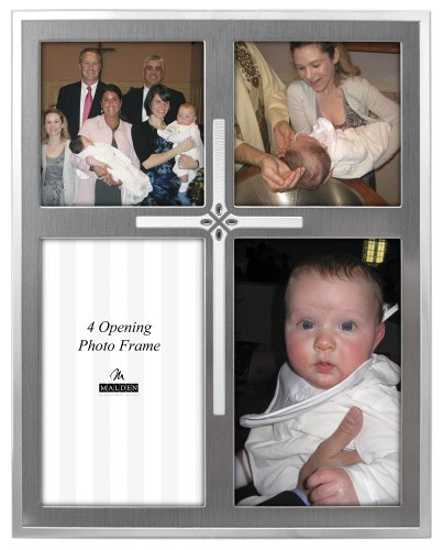 Malden International Designs Cross 2-Tone Picture Frame, 4 Option, 2-4x6, 2-4x4, - Cross Frames Design