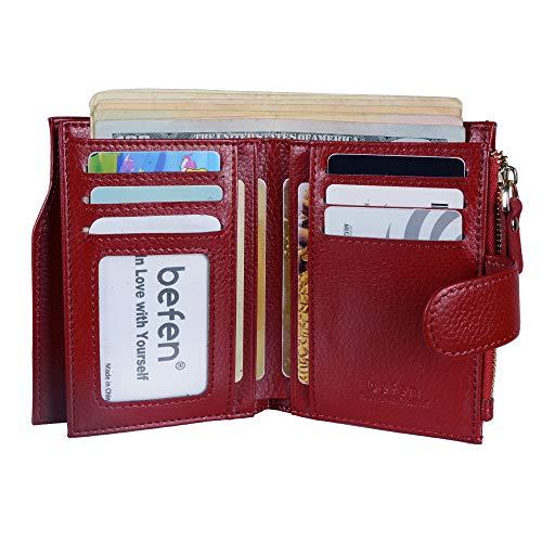 Befen Women's RFID Blocking Luxury Full Grain Genuine Leather Bifold Trifold Wallet Multi Card Organizer Holders for Ladies (Burgundy RFID Wallet Small) ()