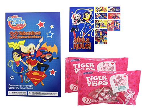 dc-super-hero-girls-32-valentine-cards-with-stickers-and-lollipops-classroom-exchange-bundle