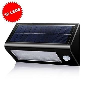 B And M Solar Wall Lights : Solar Security Light, LEDMO 32 Waterproof LED Solar Powered Wall Light 560 Lumens Super Bright ...