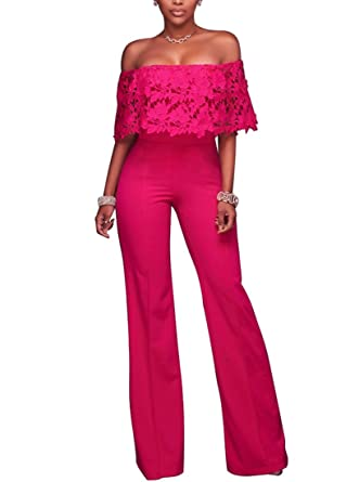 Amazoncom Womens Off Shoulder Elegant Long Pants Wide Leg