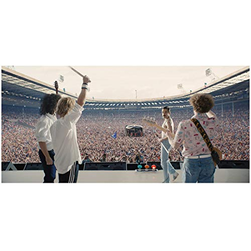 Bohemian Rhapsody 8Inch x 10Inch photo Joe Mazzello, Ben Hardy, Rami Malek and Gwilym Lee on-set photo on arena stage ed