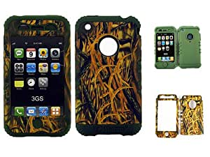HYBRID IMPACT SILICONE CASE + ARMY GREEN SKIN FOR APPLE IPHONE 3G 3GS CAMO SHEDDER GRASS