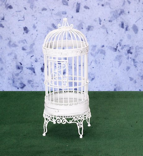 Dollhouse Miniature Victorian Large White Wire Bird Cage