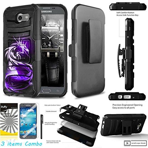 For Samsung Galaxy J7 Prime/ J7 Perx/ J7 Sky Pro/ J7 2017/ J7 V /ITUFFY 3Items Screen Protector+Stylus Pen+[Impact Resistance] Dual Layer [Belt Clip] Holster [KickStand] Phone Case Purple (Dragon Phone)