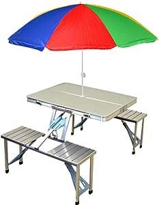 Mesa de Picnic portátil de Aluminio y sombrilla (Maleta Plegable ...