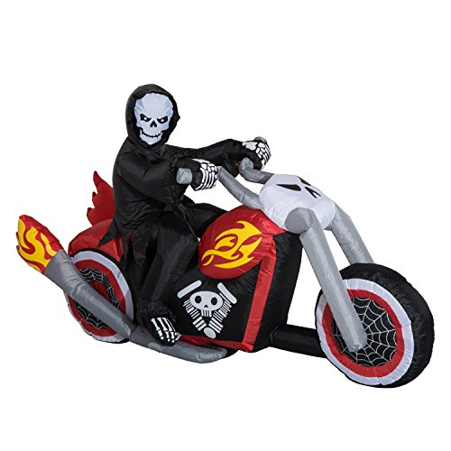 HOMCOM 7.5' Long Outdoor Lighted Airblown Inflatable Halloween Decoration - Grim Reaper Flaming Motorcycle ()