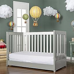 Dream On Me Milano 5-in-1 Convertible Crib, Grey/White