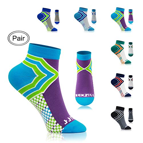 NEWZILL Low Cut Compression Socks - Unisex Running Socks With Embedded Frequency Technology For Heel, Ankle & Arch Support (Small, Green/Purple) -