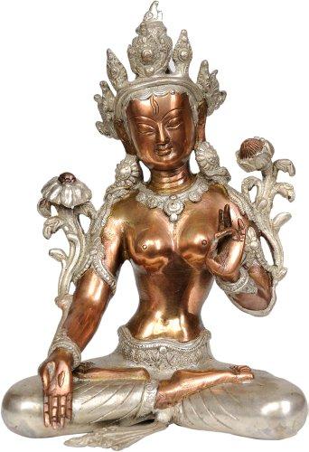 Tara Brass Statue - Seven-Eyed Goddess White Tara - Brass Statue
