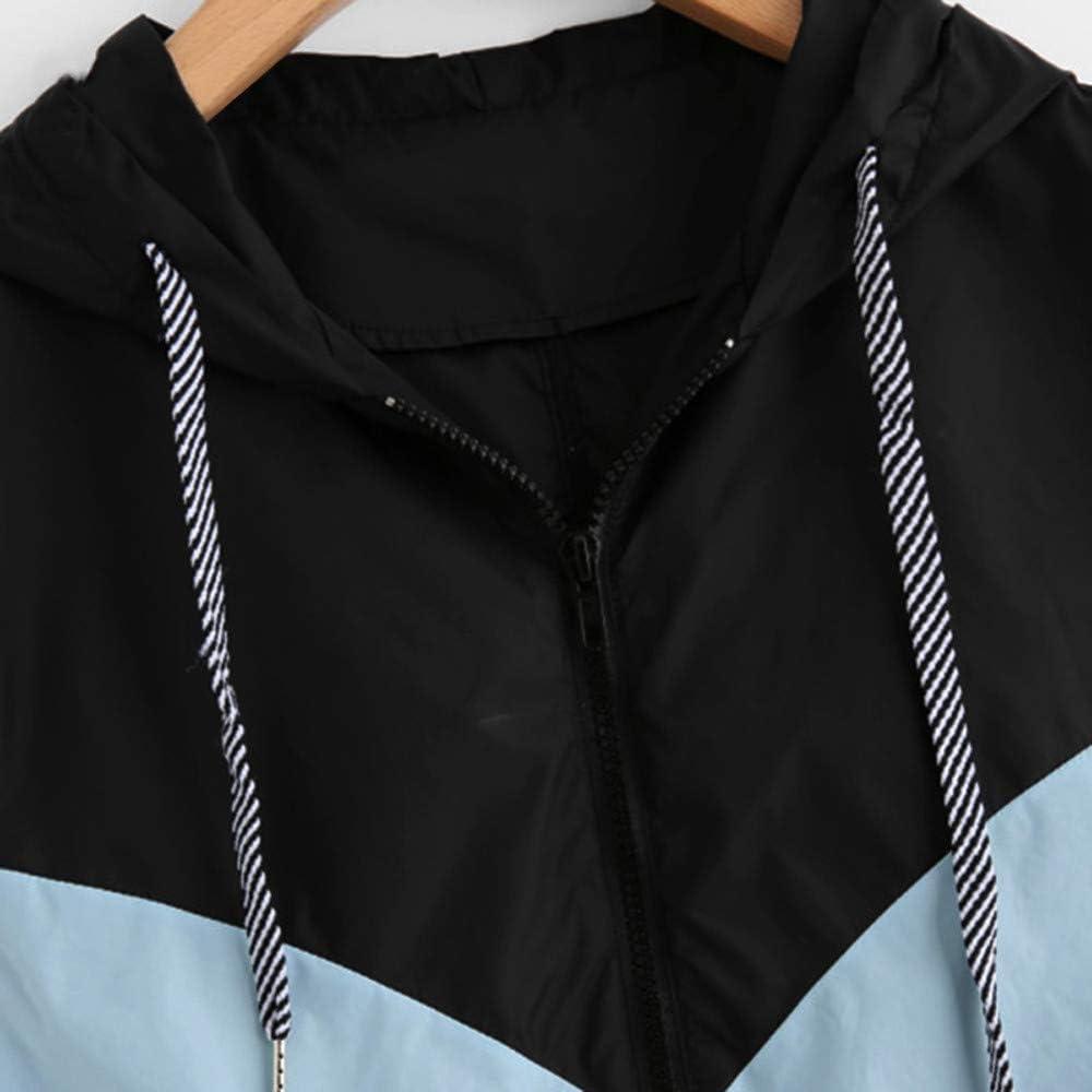 Moda Sudadera Mujer con Capucha Patchwork Abrigo de Oto/ño Tops de Manga Larga Chaqueta de Cremallera Outwear Tops Impresi/ón Camiseta Suelto Baseball Chaqueta vpass