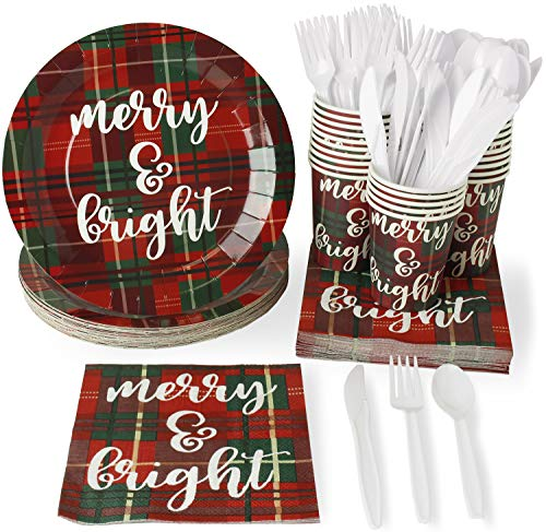 Christmas Disposable Dinnerware Set - Serves 24 - Festive Holiday Party Supplies, Red and Green Plaid Design, Includes Plastic Knives, Spoons, Forks, Paper Plates, Napkins, Cups -