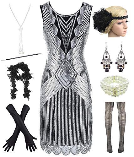 (Women Plus Size 1920s Sequin Beaded Tassels Hem Flapper Dress with 20s Accessories Set (XXL, Silver))