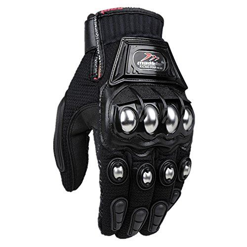 Alloy Steel Cycling Bicycle Motorcycle Motorbike Powersports Racing Gloves Full Finger Red Sports Motorcycle Gloves Bicycle Breathable Mesh Fabric Slip Motorbike Racing PU Leather (Black, XXL)