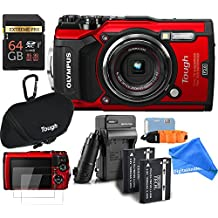 Olympus TG-5 Waterproof ALL YOU NEED RUGGED Digital Camera BUNDLE + DigtalAndMore Micro Fiber Lens Cleaning Cloth (RED, 64GB SD CARD)