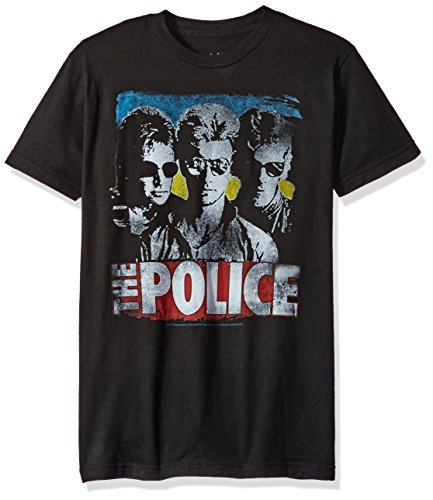 Liquid Blue Men's The The Police Greatest Hits Short Sleeve T-Shirt, Black, Small ()
