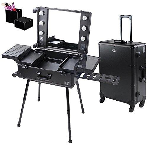 AW 4-Wheel Rolling Studio Makeup Case w/LED Light Adjustable Black Artist Cosmetic Case Leg Mirror Train Table