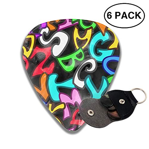 Graffiti Style Letters 3D Color Printed Guitar and Bass Pick Gift Brass ()