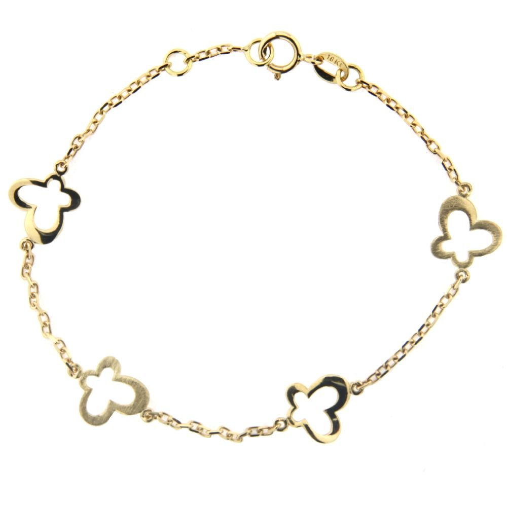 18K Yellow Gold Open Polished and Satin Butterflies Bracelet 6 inches with extra ring at 5.50 inch