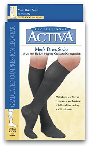 Activa Men's 15-20 mmHg Dress Socks, Brown, (Activa Support Socks)