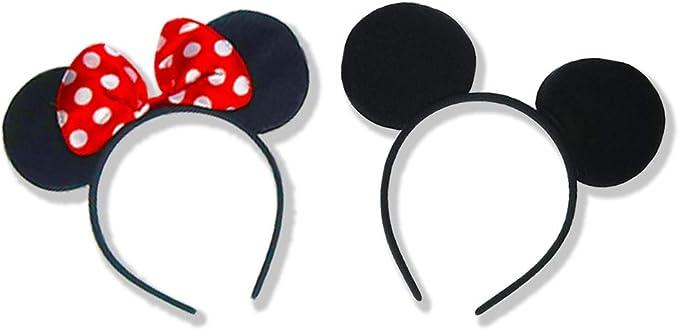 24 pcs Mickey Mouse Ears Headbands Black Plush Party Favors Birthday Gift Minnie