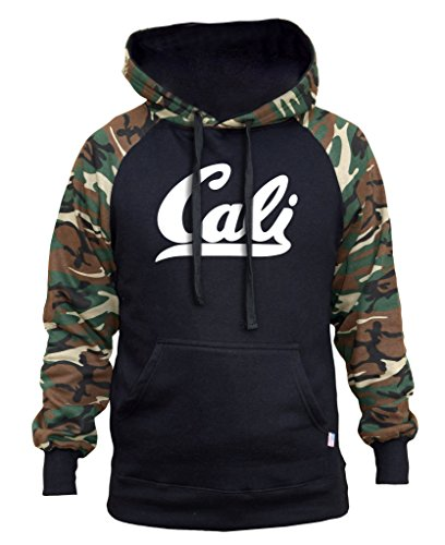 Men's Cali Black/Camo Raglan Baseball Hoodie Black