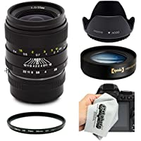 Oshiro 35mm f2 Wide Angle Full Frame Prime Lens with Hood, UV Filter and 10x Macro for Fuji X-Pro1, X-T1, X-E2, X-E1, X-M1, X-A2, and X-A1 FX Digital Mirrorless Cameras (EOS-FX)