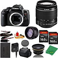 Great Value Bundle for T6I DSLR – 18-55mm STM + 2PCS 16GB Memory + Wide Angle + Telephoto Lens + Case