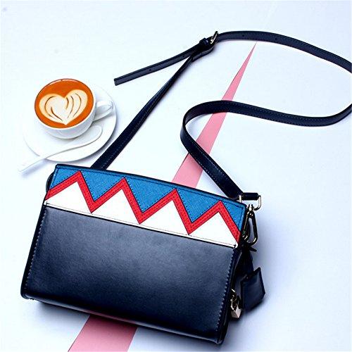 Mujer Spell-Color Xinmaoyuan Bolsos Bolso femenino geométricas onduladas con diagonal pequeño bolso bandolera Picquan Bloquear cuadrada pequeña bolsa con cremallera,Negro negro