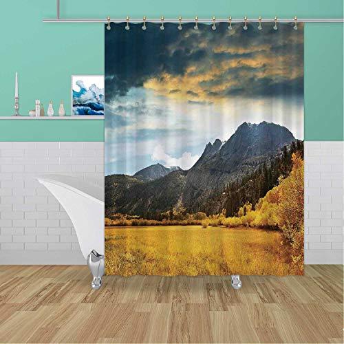 ALUONI Woodland Dr,Shower Curtains Bathroom Curtains Shower Set,Autumn in Mountain Golden Colored Grassland Sundar Clouds Cloudscape Drative,Bathroom Curtains,59''W x 71''H