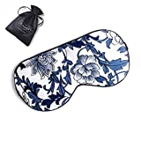 ZIMASILK Adjustable Mulberry Silk Sleep Mask Blindfold 100% Pure Mulberry Silk Eye Mask for Sleep with Bag (Blue Flower)