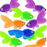 Pack of 144 Cute and Happy Looking Little Vinyl Goldfish Party Favor, Carnival Game, Kids Craft, School Project, Summer Party's, Assorted Colors, by 4E's Novelty,