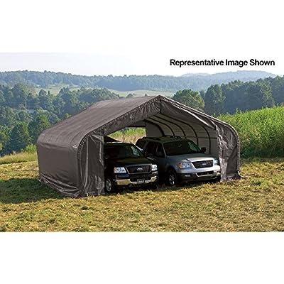 ShelterLogic Peak Style Double Wide Garage/Storage Shelter - Gray, 28ft.L x 22ft.W x 13ft.H, 2 3/8in. Frame, Model# 82243