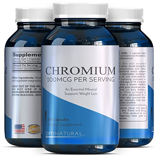 Chromium Picolinate Capsules – Weight Loss Metabolism – 200mcg Pills Metabolize Fat Carbs Protein + Support Insulin Function Healthy Cholesterol + Blood Sugar Levels – Trace Mineral