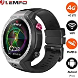 LEMFO LEM9 - Dual Systems Smartwatch 4G LTE Phone Android 7.1.1 1GB+16GB 1.39 inch Display 5MP Front Camera 600Mah Battery Heart Rate Monitor, Pedometer,GPS,Heart Rate Monitor for Men Women (Black)
